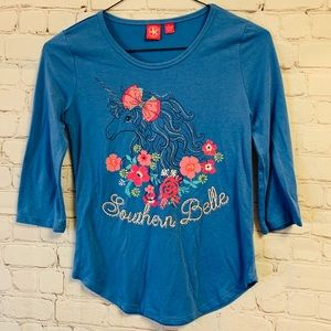 J. Khaki Southern Belle Unicorn Flowers T-Shirt